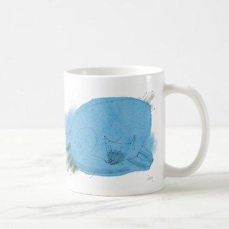 Blue cat sleeping mug