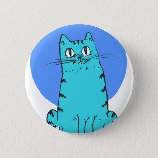 blue cat sweet cartoon kitty 2 inch round button
