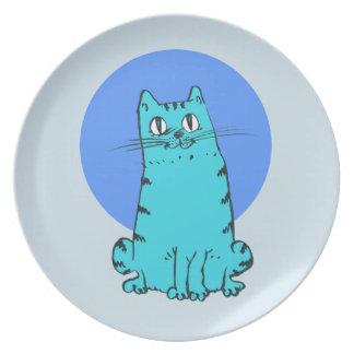 blue cat sweet cartoon kitty plate