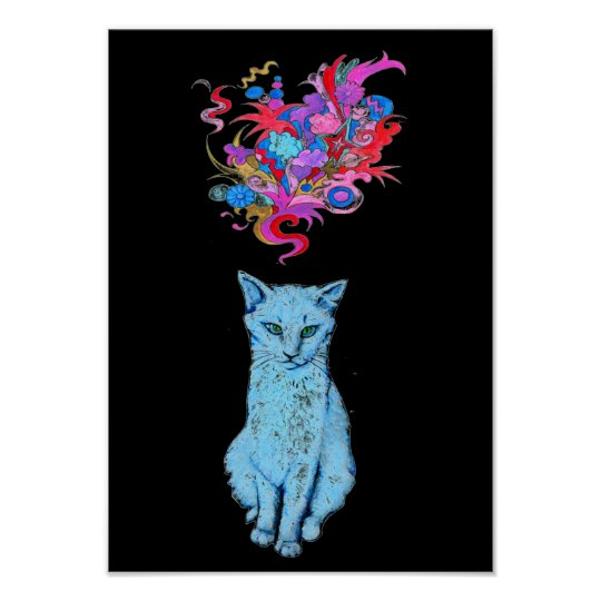 Blue Cat with Psychedelic Thoughts Poster