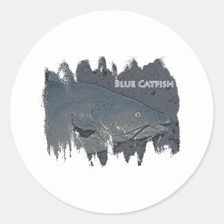 Blue Catfish Logo Classic Round Sticker