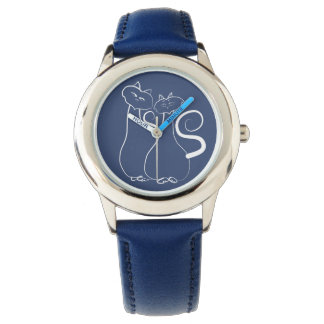 Blue Cats Love Romantic Minimal Cool Drawing Cute Watch