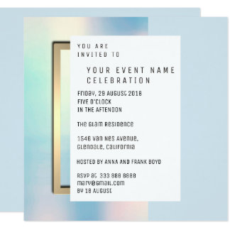 Blue Celestial Pearly Minimal Geometrical Gold Card