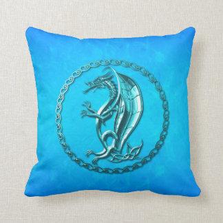 Blue Celtic Dragon Throw Pillow