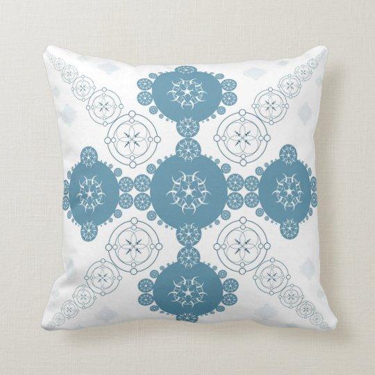 Blue Celtic Fractal Crop Circle Throw Pillow