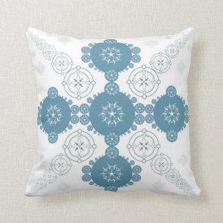 Blue Celtic Fractal Crop Circle Throw Pillows