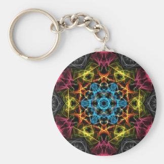 Blue Centre Basic Round Button Keychain