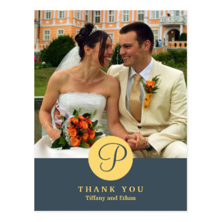 Blue centre classic monogram photo thank you note postcard