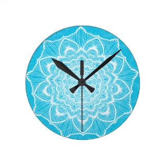 Blue Chakra Blossom, boho, new age, spiritual Round Clock