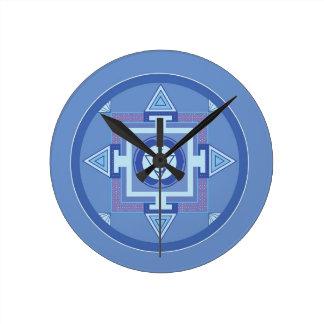 Blue Chakra Mandala Meditation Yoga Energy Round Clock