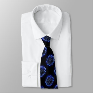 Blue Chalk Drawn Merry and Bright Holiday Tie