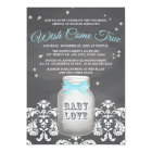 Blue Chalkboard Firefly Mason Jar Baby Shower Card
