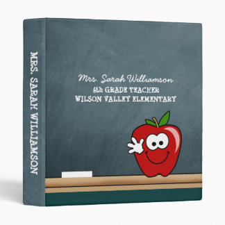 Blue Chalkboard with Apple Personalized Binder