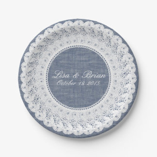 Blue chambray denim & lace custom paper plate