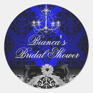 Blue Chandelier Damask Bridal Shower Sticker