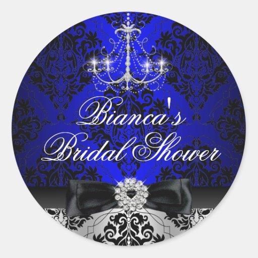 Blue Chandelier & Damask Bridal Shower Sticker