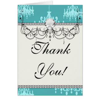blue chandelier damask on blue aqua card