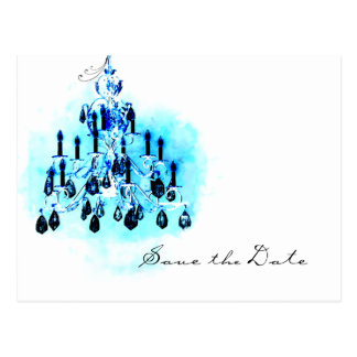 Blue Chandelier Save the Date Template Postcard