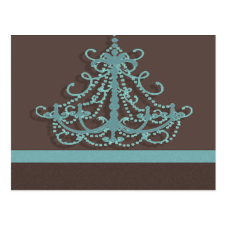 blue chandelier with chocolate background postcard