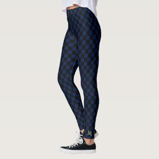 Blue Check Pattern Monogram Full Length Leggings