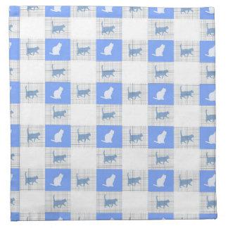 Blue Checkerboard Cat Pattern Napkin