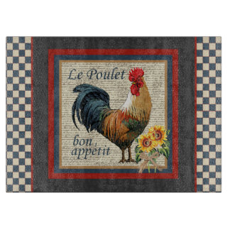 Blue Checkered French Country Rooster Boards
