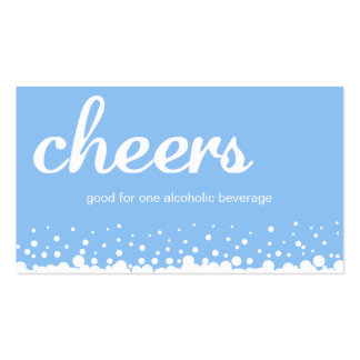 Blue cheer bubble wedding custom bar drink ticket business card templates