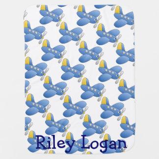 Blue Cheerful Airplane Baby Blanket