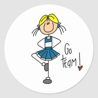 Blue Cheerleader Classic Round Sticker