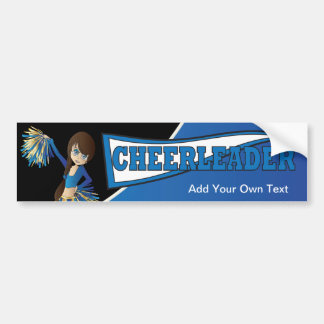 Blue Cheerleader Diva Girl Bumper Sticker