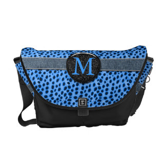 Blue Cheetah Monogram Animal Print Courier Bag