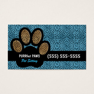 Blue Cheetah Print Custom Paw Pet Sitter Business Card