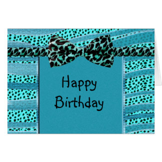 Blue Cheetah Sweet Sixteen Zebra Stripes Card