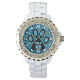 Blue Cheetah Talk to the Paw with Roman Numerals Watch