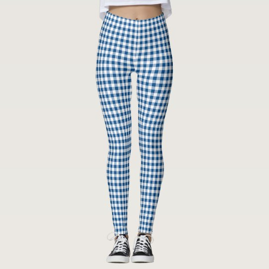 Blue Chequered Pattern Leggings