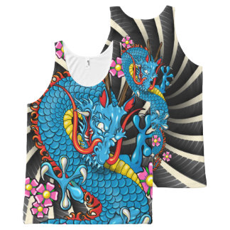 Blue Cherry Blosso Dragon with Wind Bars Tank Top