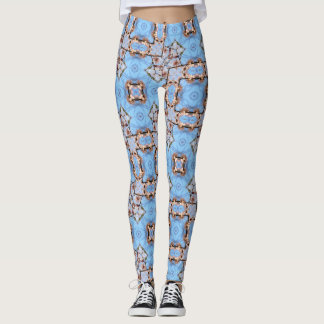 Blue Cherry Blossom Geometric Leggings
