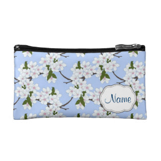 Blue Cherry Blossom Personalized Cosmetic Bag