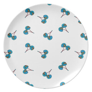 Blue Cherry Pattern Dinner Plate