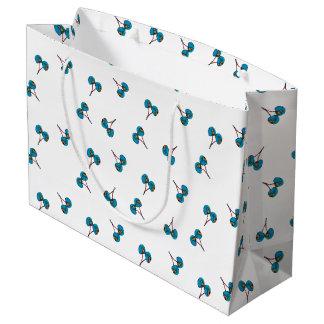 Blue Cherry Pattern Large Gift Bag