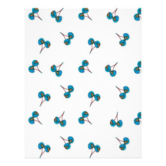 Blue Cherry Pattern Letterhead