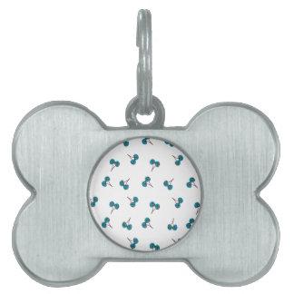 Blue Cherry Pattern Pet Tag
