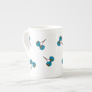 Blue Cherry Pattern Tea Cup