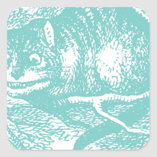 Blue Cheshire Cat Square Sticker