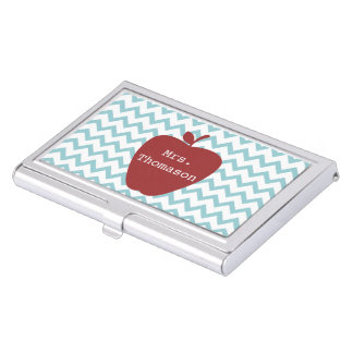 Blue Chevron & Apple Teacher Business Card Holder
