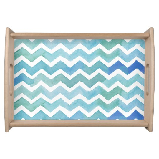 Blue Chevron Background. Watercolor Chevron Serving Platters