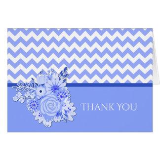 Blue Chevron Bridal Shower Thank You Card