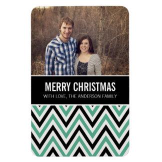 Blue Chevron Chic Merry Christmas Photo Magnet