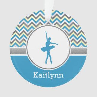 Blue Chevron Dancer Personalized Ornament