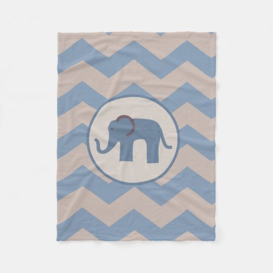 Blue Chevron Elephant Blanket